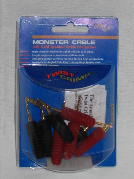 Monster Cable Twist Crimp Toolless Speaker Cable Connectors - Angled Gold Pin